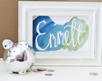 Choice of Color ~ Original Watercolor - Watercolor Name - Watercolor Calligraphy - Name Art - Nursery Name Art  - Name Decor - Custom Name
