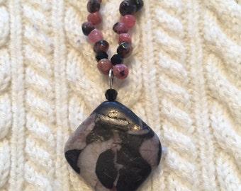 Necklace Black, Grey and Pink Semi precious stones