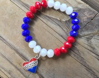Red White Blue Charm Heart Bracelet