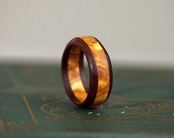 Olive/Walnut Wood Ring - Free Domestic Shipping