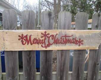 Merry Christmas Barn Wood