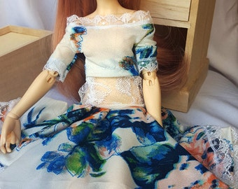BJD 1/3 flower dress set, 2 pieces, slim MSD such as Minifee and Unoa