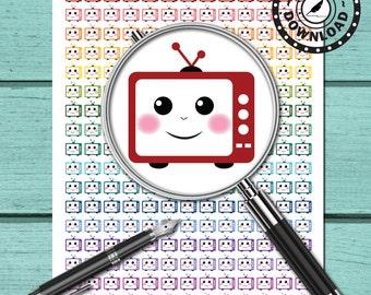 TV Planner Stickers Life Planner, Limelife, Plum Paper or Kikki K Planner (ni16b) Instant Download