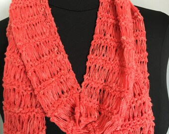 Handmade Knit Soft  Long Lacy Coral Spring Fashion Scarf