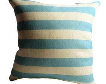 Aqua Stripes Decorative pillow Cover with Zipper