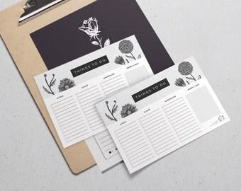 Daily To-Do List Printable A5 / Floral Monochrome / Digital File, Printable