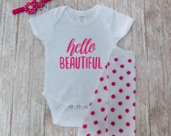 "Infant girls ""Hello Beautiful"" set with headband and leg warmers"