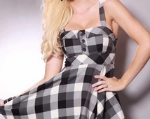 Cute Sexy School Girl Plaid Button Babydoll Pinup Dress