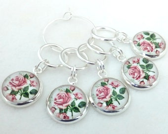 Beautiful Pink Rose Stitch Markers - flower stitch markers - pretty floral crochet markers