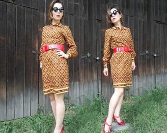 SALE 30% OFF Vintage 60s dress Shirt dress Geometric print dress Vintage 1970's Mod dress Knee length dress Brown dress  Cotton dress Pri...