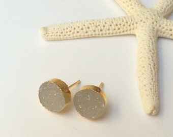 White druzy studs, 10 mm 22 K gold electroplated drusy quartz posts, natural druzy earrings, bridesmaids gift