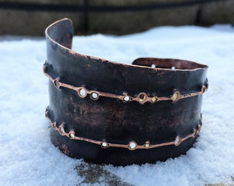Copper Cuff Bracelet - hammered drilled textured distressed fold formed black india ink patina