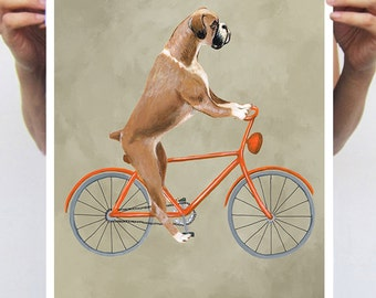 Boxer painting, print from original painting by Coco de Paris: Boxer on bicycle