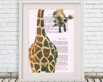 Animal painting portrait painting Giclee Print Acrylic Painting Illustration Print wall art wall decor Wall Hanging: giraffe with leaf