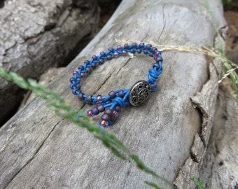 Handmade Leather Bead Bracelet