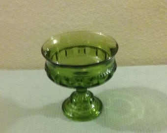 Vintage Green Kings Crown Candy Dish By Tiffin Glass, Perfect Condition