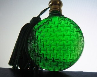 Perfume bottle miniature vintage green and gold colors (empty of original contents)