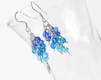 Cluster Earrings - Ocean Earrings - Ombre Earrings - Blue Crystal Earrings - Shades of Blue Earrings - Crystal Earrings - Gift For Her