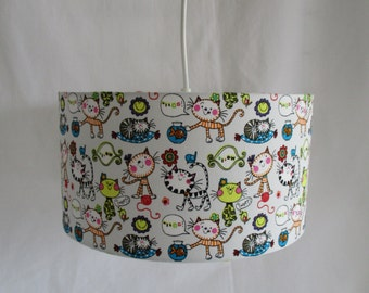 Lampshade cylindrical HANGING for child room - decor cats - handmade