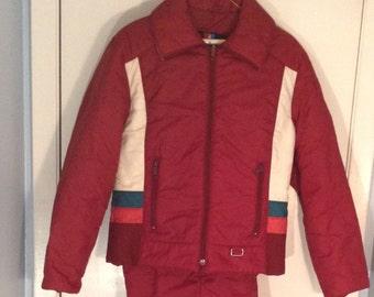 White Stag Vintage 70s/80s Women's Winter Snow Ski Jacket size 16 Large & Bibs
