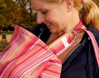 Nursing Cover | Breastfeeding Cover Up | 100% Cotton Nursing Cover | Boned Neck Nursing Cover | Baby Shower Gift | Magenta Stripes