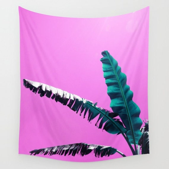 Items Similar To Teal Purple Abstract Flowers Wall Decor: Items Similar To Tropical Tapestry, Banana Leaf Wall