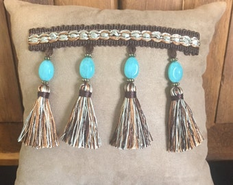 Suede with Turquoise Fringe Small Pillow