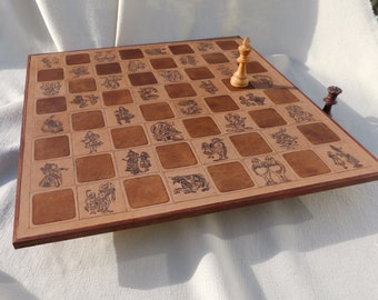 chessboard,alice in wonderland, inlaid chessboard, leather chessboard, rosewood trim, chess