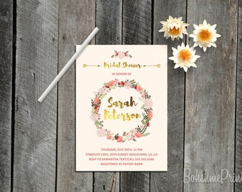 Floral Wreath Invitation Blush and Gold Bridal Shower Invitation Bohemian Bridal Shower Invitation Hippie Invitation Watercolor Invitation