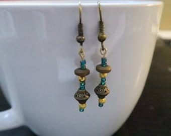 Bronze & Blue Earrings