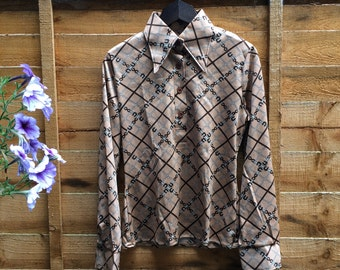 Vintage 1970s Brown Beige Shirt Blouse Top with Equestrian Print and Pointed Collar - UK 8 EU 36 US 6 - Preppy Cute Seventies