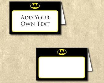 Batman Labels Printables, Editable tent Labels, Printable tent Labels, Batman Birthday, buffet labels, bat man labels, editable text