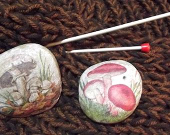 decorated stones MUSHROOMS, MYCOLOGY, burner incense, decoupage decor