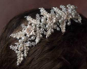 Swarovski crystals, pearls & french enamel flowered bridal hair clip. The Aubagne, part of the French Riviera Collection