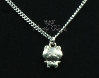 Chinese Zodiac pig charm necklace , silver necklace , pig necklace , pig charm necklace , zodiac necklace , chinese zodiac necklace