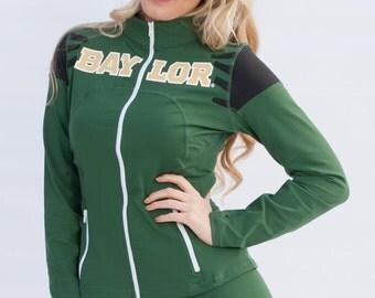 Baylor Bears NCAA Women's Full Zip-Up Yoga Track Jersey Jacket (Green)