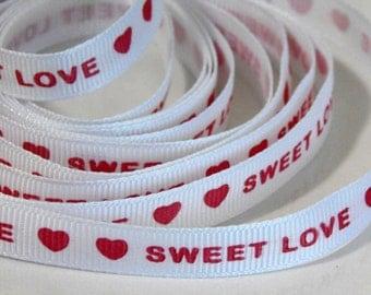 5 yd Printed Sweet Love Red Hearts Grosgrain Ribbon #ER14