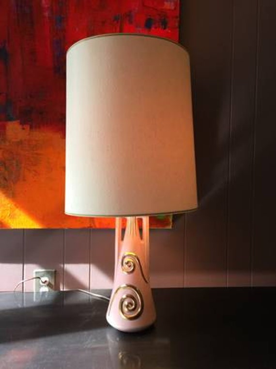 Vintage Pink and Gold Ceramic Lamp