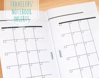 Printable calendar inserts for Midori TN undated monthly inserts - Midori Traveler's notebook inserts