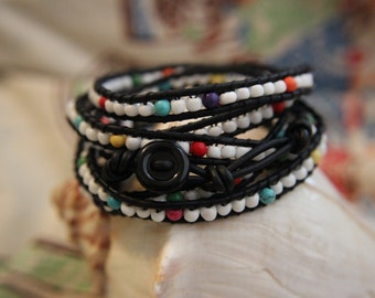 White Glass and Rainbow with Black Leather Adjustable Wrap Bracelet Extra Long 6 Wraps