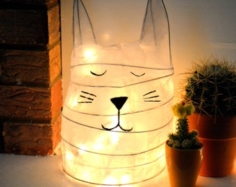 Cat Lamp - Sleeping Cat - Cat Lover Gift - Cat Light - White Cat - Night Light - Paper Lamp - Bedside Lamp - Table Lamp - Cat Gift - Skandi