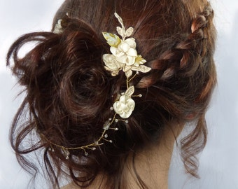 Wedding Hair Vine: Silk Satin Flowers, Applique Lace & Brass Leaves