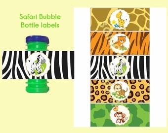 Safari Bubble bottle labels 2 oz, Safari bubble labels, Jungle bubble labels, Safari Birthday, Digital File.