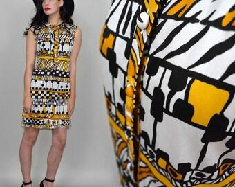 Vintage GRAPHIC Op Art Deco TRICOSA Paris Shift Dress Slinky Liquid Jersey 60s M