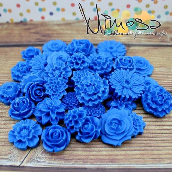 Fleurs cabochon bleu foncé, Embellissement de scrapbooking, Carterie, Invitations
