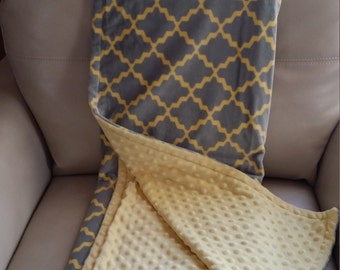 Reversible Minky Blanket, Sofa Throw, Grey and Yellow - Adult/Teen Size - 52 X 60 in.