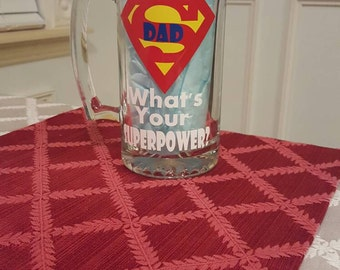 I am a Dad What's Your Superpower Beer Mug, Father's Day Beer Mug, Dad Beer Mug, Father's Day Gift, Dad Gift