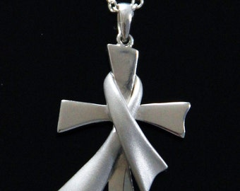 "Cross and Awareness Cancer Ribbon Pendant  with 16""-18"" Chain"