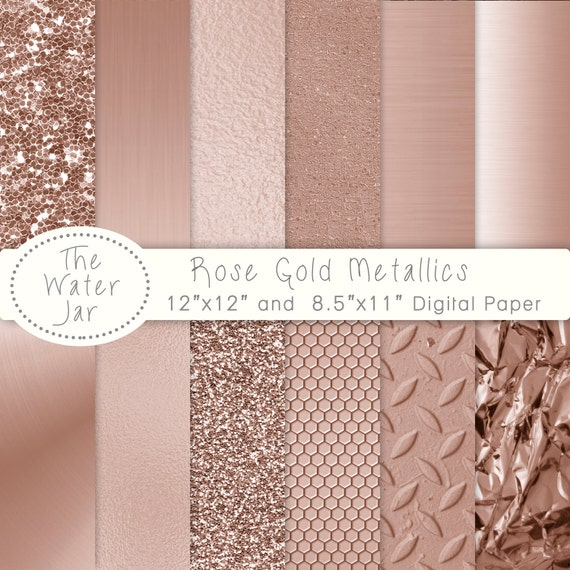 Rose Gold Digital Paper Pack With Rose Gold Metallic Glitter