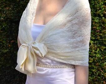 Ivory wedding shawl, Bridal shawl, lace bridal shawl, lace shawl, winter bridal shawl